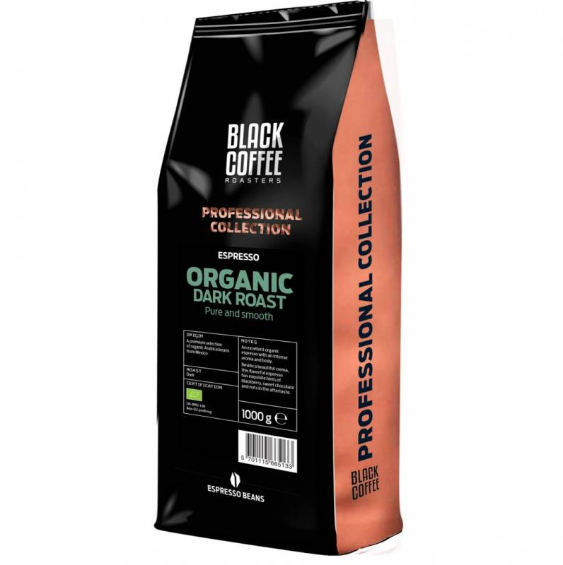 Espresso Black Coffee Roasters Organic Dark hele bønner 1kg/ps