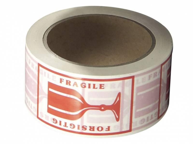Image of   Tape PVC rød tryk forsigtig 48mmx66m