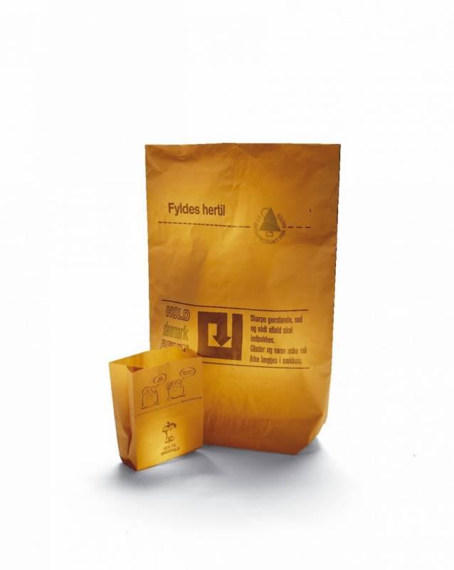 Affaldssække papir 70x95x25cm 2-lags m.plastik indv