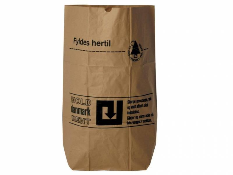 Affaldssække papir 70x95x25cm 1-lags vådstærk brun