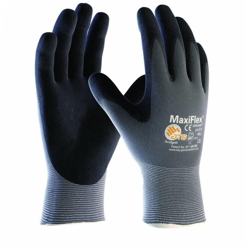Image of   Handsker Maxi-flex grå/sort nylon/lycra nr10 12par/pak