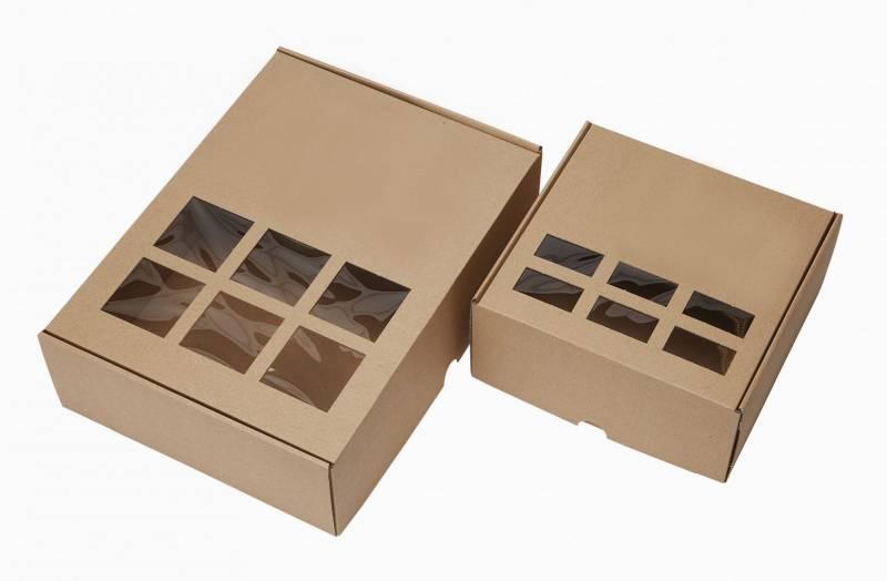 Gaveæske m/rude i bølgepap 250x250x120mm brun 25stk/pak