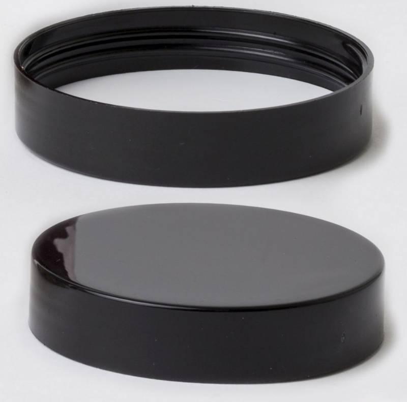 Skruelåg til plastikdåse sort Ø75mm 80stk/pak
