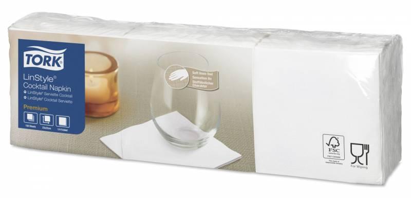 Image of   Cocktailserviet Tork Linstyle 1-lags 23cm hvid 150stk/pak
