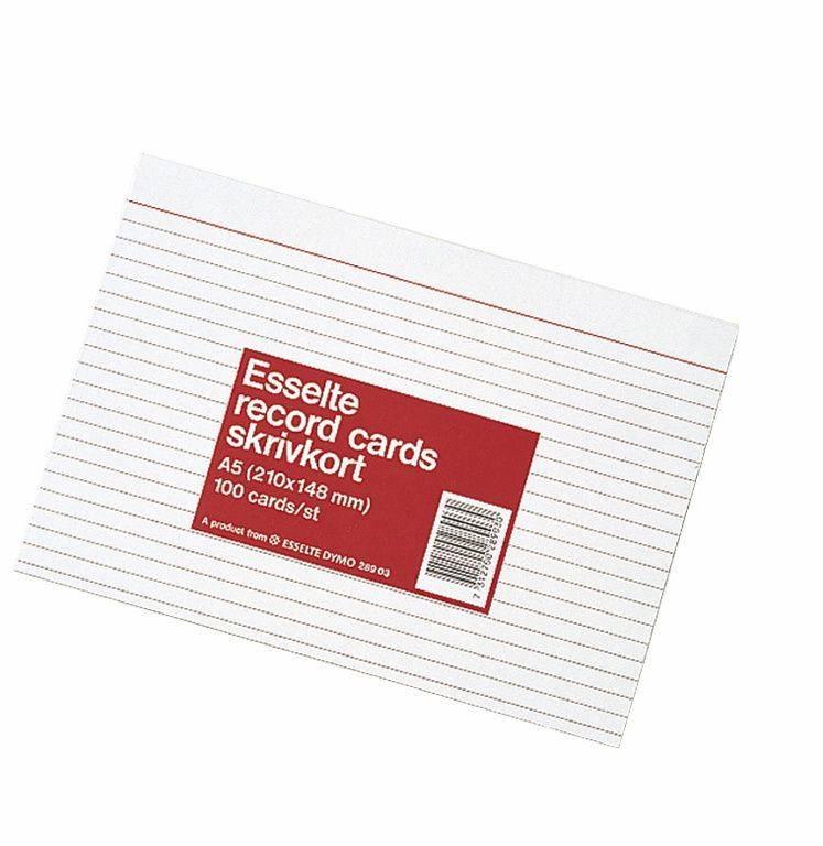 Kartotekskort Esselte m/linier A6 105x148mm 28902