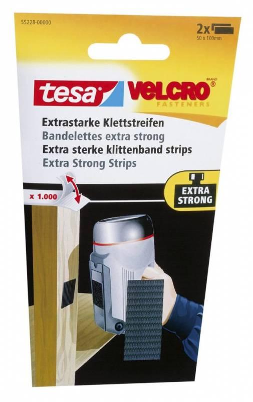 Image of   Burretape tesa Velcro sort eks stærk strips 50x100mm 2stk