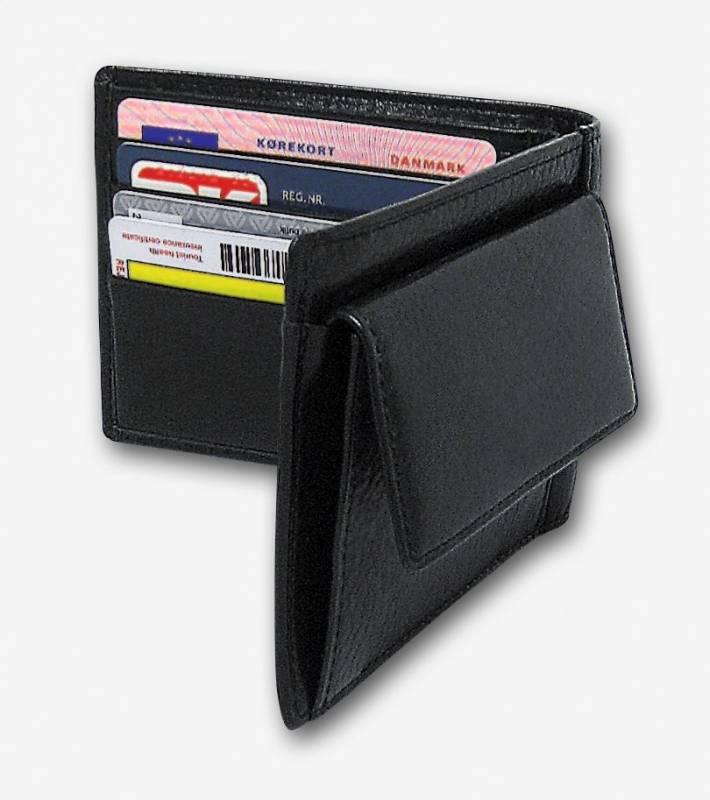 Billede af Kreditkortpung med møntrum sort skind 11x9cm 3694 00