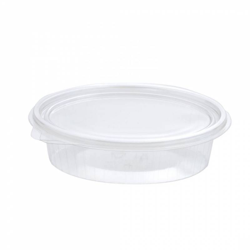 Image of   Plastbakke m/hængsl. låg 50stk oval 150ml 148x112x31mm 97008