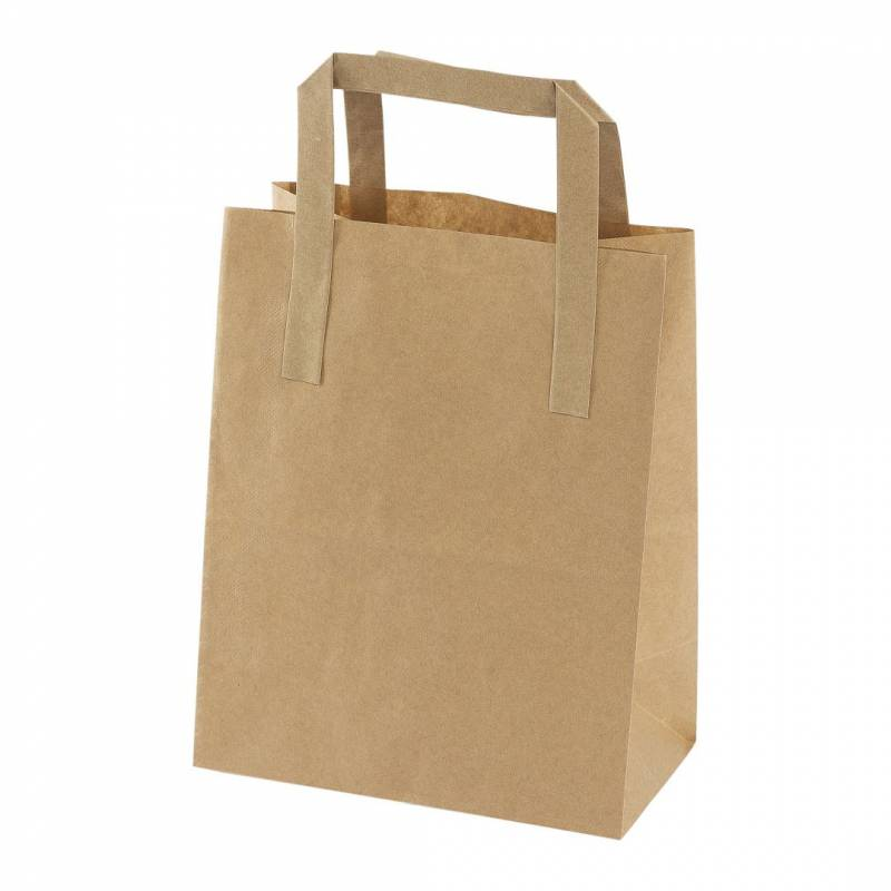 Image of   Papirsbærepose brun 4,9L 180/105x230mm 500stk/pak 70g