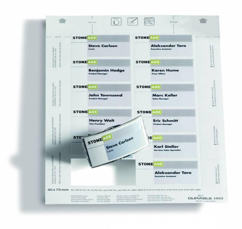 Image of   Indstik til kongresmærker på A4-ark hvid 75x40mm 20ark/pak