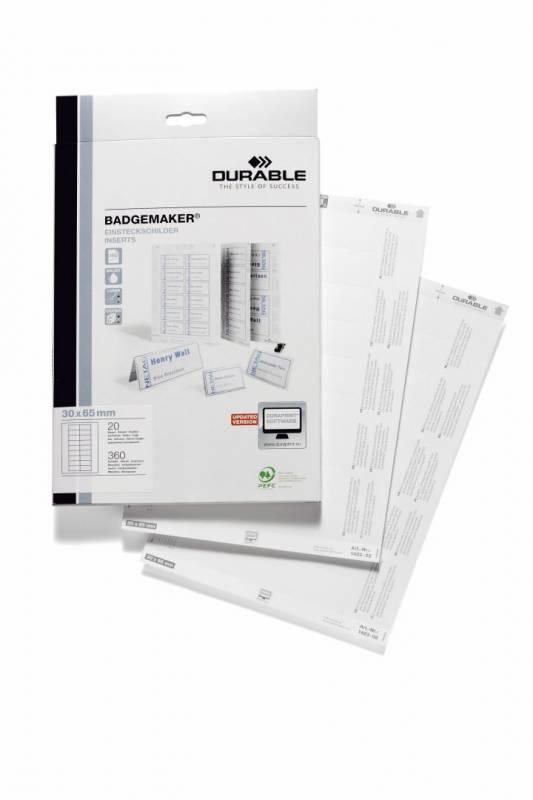 Image of   Indstik til kongresmærker på A4-ark hvid 65x30mm 20ark/pak
