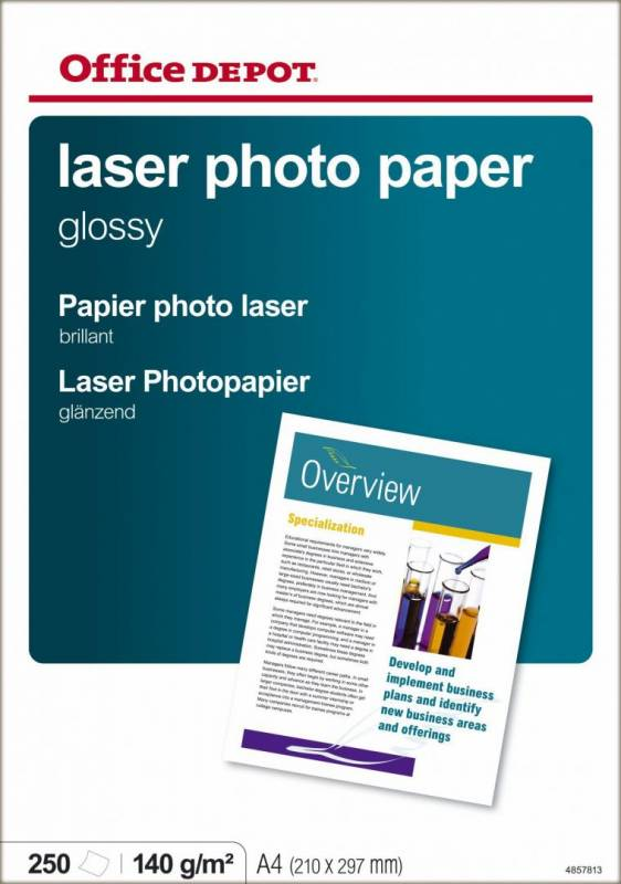 Image of   Fotopapir laser OD 140g A4 Glossy 250ark/pak 4857813