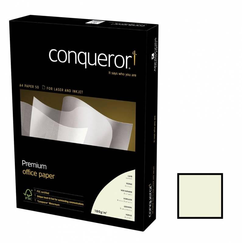 Image of   Kopipapir Conqueror Laid m/vandmærke og striber 100g A4 højhvid 500ark/pak