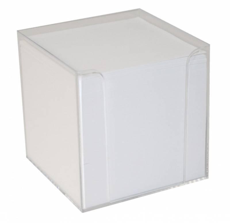 Image of   Kubusdispenser klar plast m/700 ark hvid 9,5x9,5x9,5 cm
