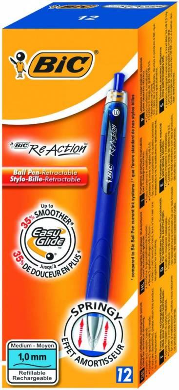 Billede af Kuglepen Bic ReAction blå medium 1,0mm