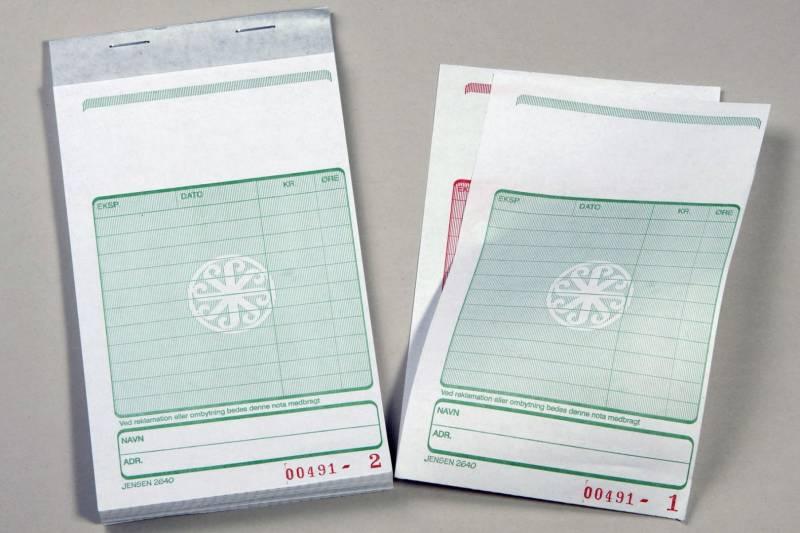 Image of   Kasseblok 2640 med grøn tryk 160x102 mm 50 bl m/kopi
