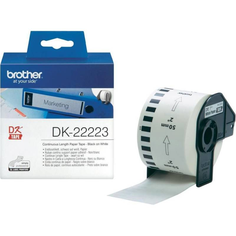 Image of   Label Brother hvid DK22223 30,48mx50mm papirtape