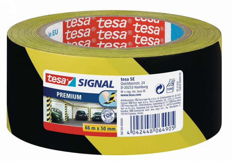 Image of   Tape tesa advarselstape PVC 48mmx66m gul/sort 58130