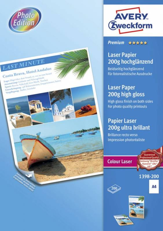 Image of   Fotopapir laser A4 200g glossy premium 2-siders 200ark/pak