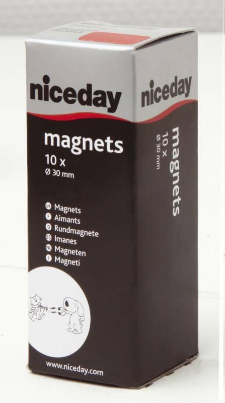 Billede af Magneter niceday rød Ø30mm 10stk/pak 980604