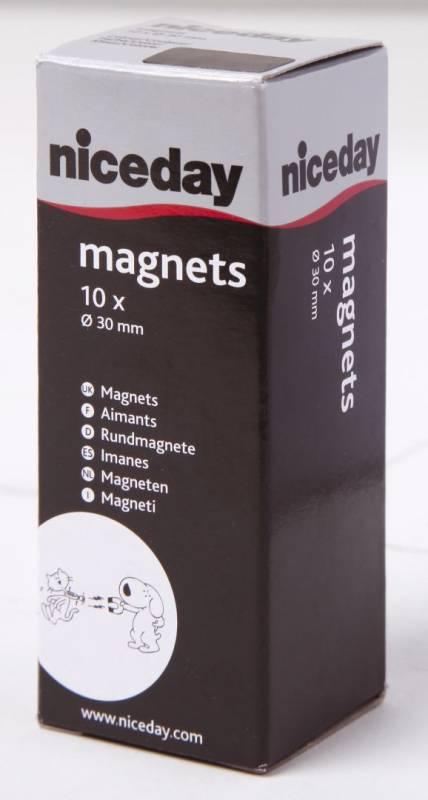 Billede af Magneter niceday sort Ø30mm 10stk/pak 980602