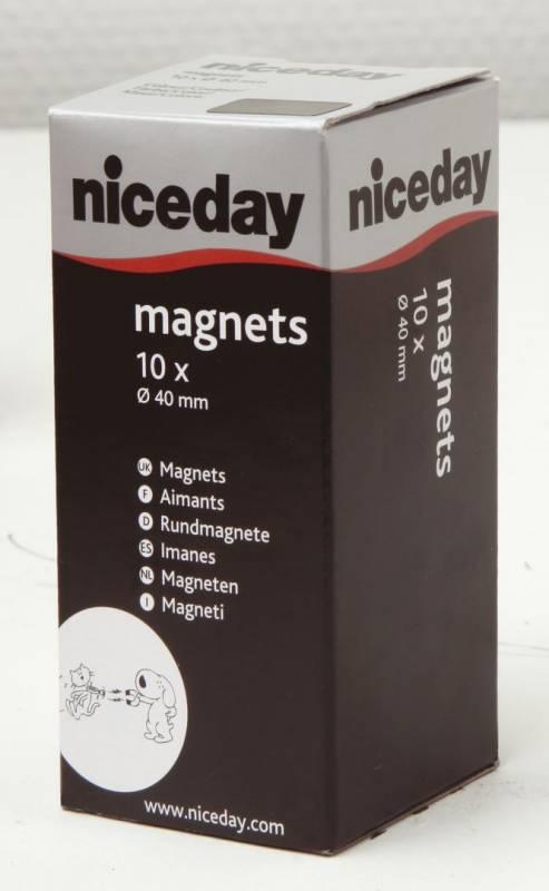 Billede af Magneter niceday sort Ø40mm 10stk/pak 980609