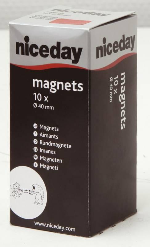 Billede af Magneter niceday rød Ø40mm 10stk/pak 980611