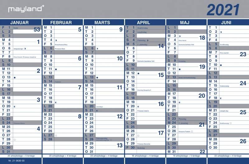Billede af Kartonkalender halvårs 44x29cm 21 0630 00 (2021)