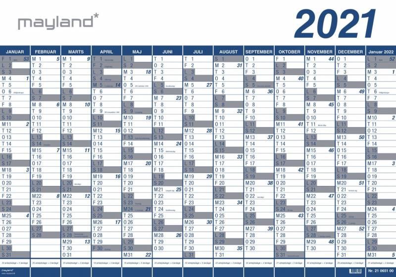 Billede af Kæmpekalender 13mdr vinyl 100x70cm 21 0650 00 (2021)
