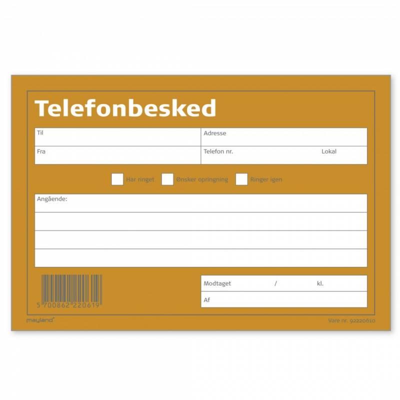 Image of   Telefonbesked 100bl 148x100mm tværform. 92 2206 10