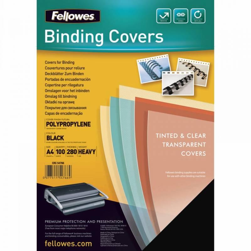Image of   Plastforside til indbinding Fellowes 240mic sort A4 PP 100stk/pak