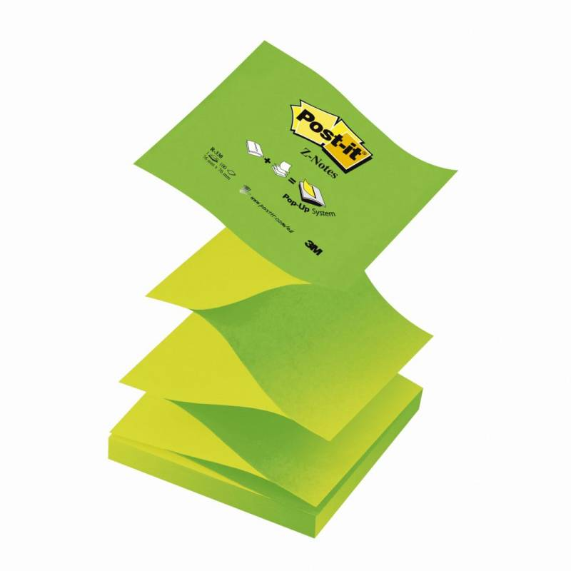 Image of   Post-it blok R-330NAG grøn z-fold 76x76mm 12blk/pak