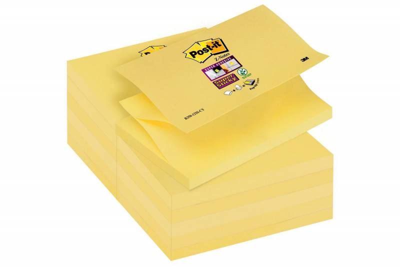 Image of   Post-it blok R-330 gul z-fold 76x76mm 12blk/pak