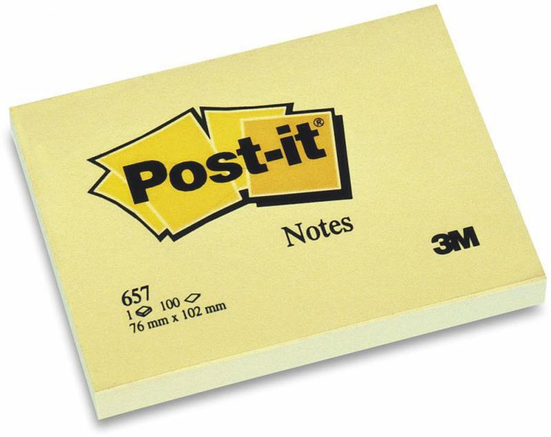 Image of   Post-it blok 657 gul 76x102mm 100bl 3M 12blk/pak