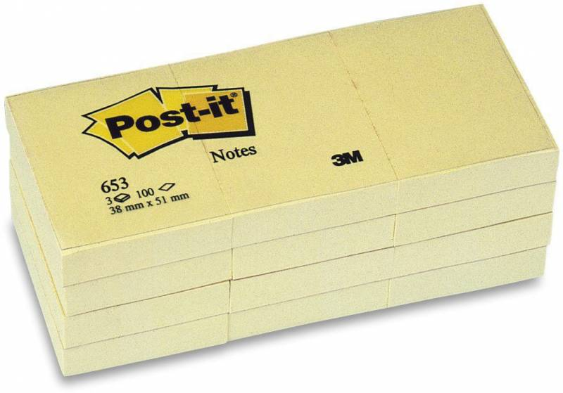 Image of   Post-it blok 653 gul 38x51mm 100bl 3M 12blk/pak