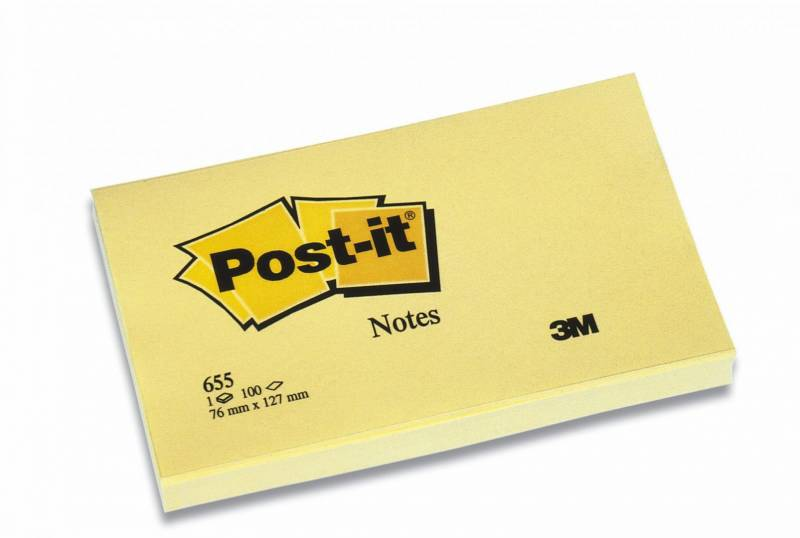 Image of   Post-it blok 655 gul 76x127mm 100bl 3M 12blk/pak