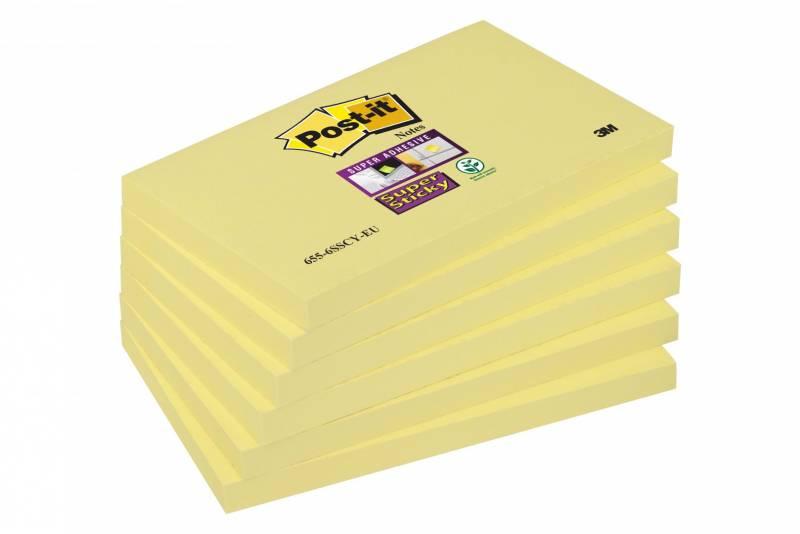 Image of   Post-it blokke Super Sticky gule 76x127mm 90bl. 6blk/pak