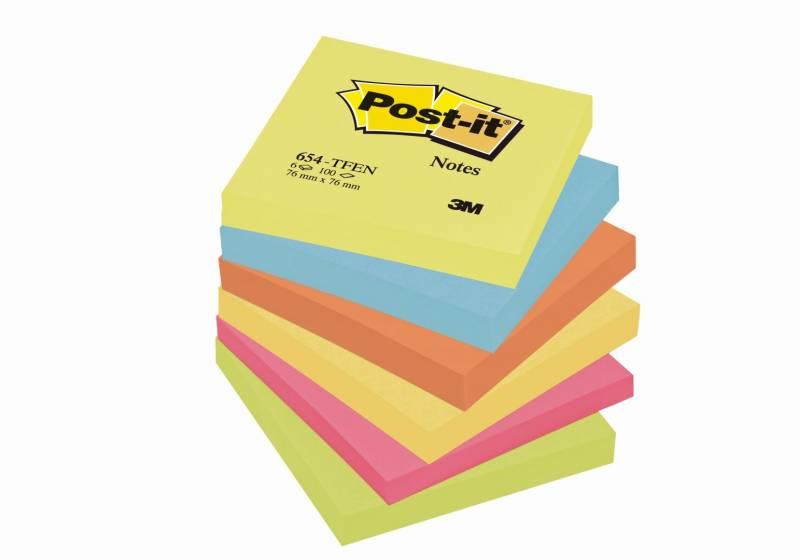 Billede af Post-it notes neon 76x76mm 5 ass. farver 6blk/pak 654TFEN