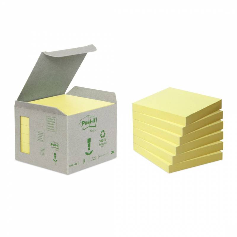 Image of   Post-it notes Miljø 76x76mm gul 6blk/pak