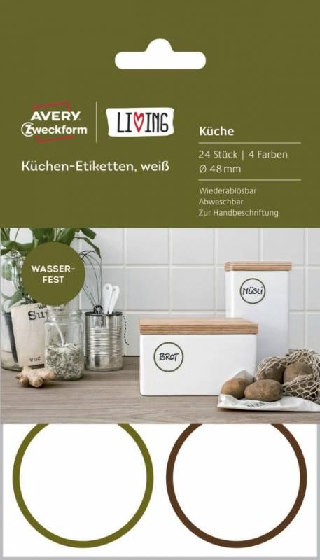 Image of   Etiket Avery køkken Ø48mm aftagelig kant 24stk/pak