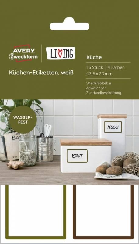 Image of   Etiket Avery køkken 47,5x73mm hvid m/farvet kant 16stk/pak