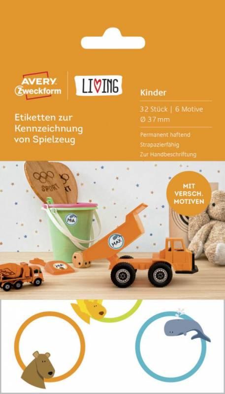 Image of   Etiket Avery t/mærkning Ø37mm til legetøj 32stk/pak