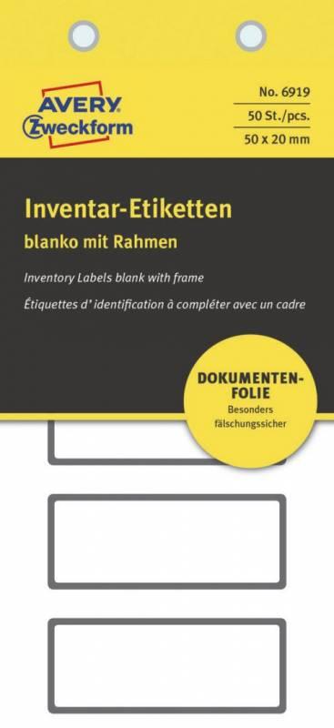 Image of   Etiket Avery t/inventar og logistik NoPeel 50x20mm 50stk/pak