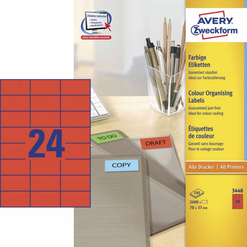 Image of   Etiket 70x37mm rød Avery 3448 24stk/ark 100ark/pak