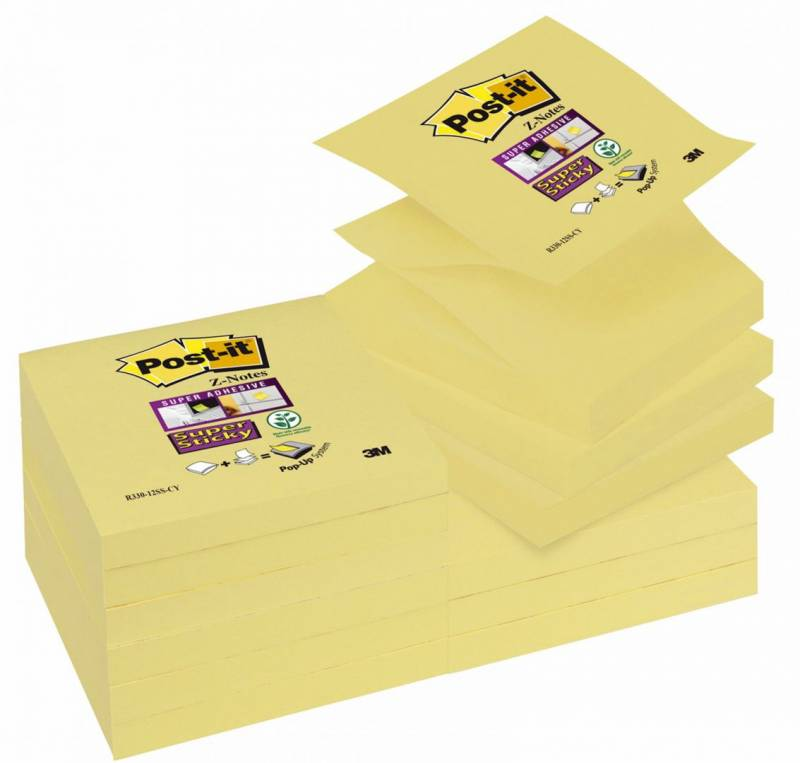 Billede af Post-it blok Super Sticky R330 gul z-fold 76x76mm 12blk/pak