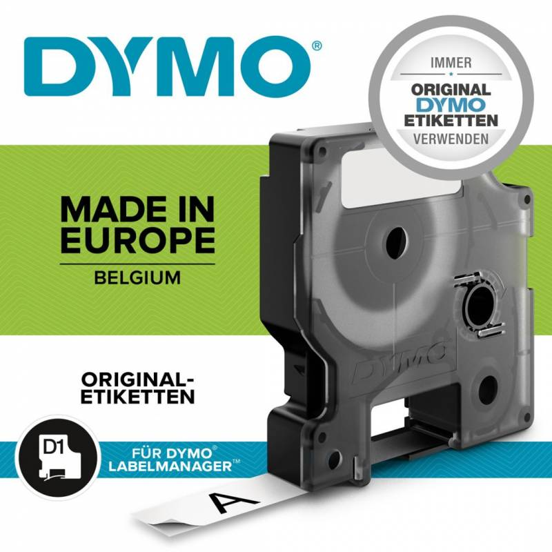 Image of   Labeltape Dymo D1 Permanent Polyester 12mm sort på hvid