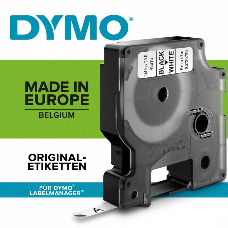 Image of   Labeltape Dymo D1 6mm sort på hvid