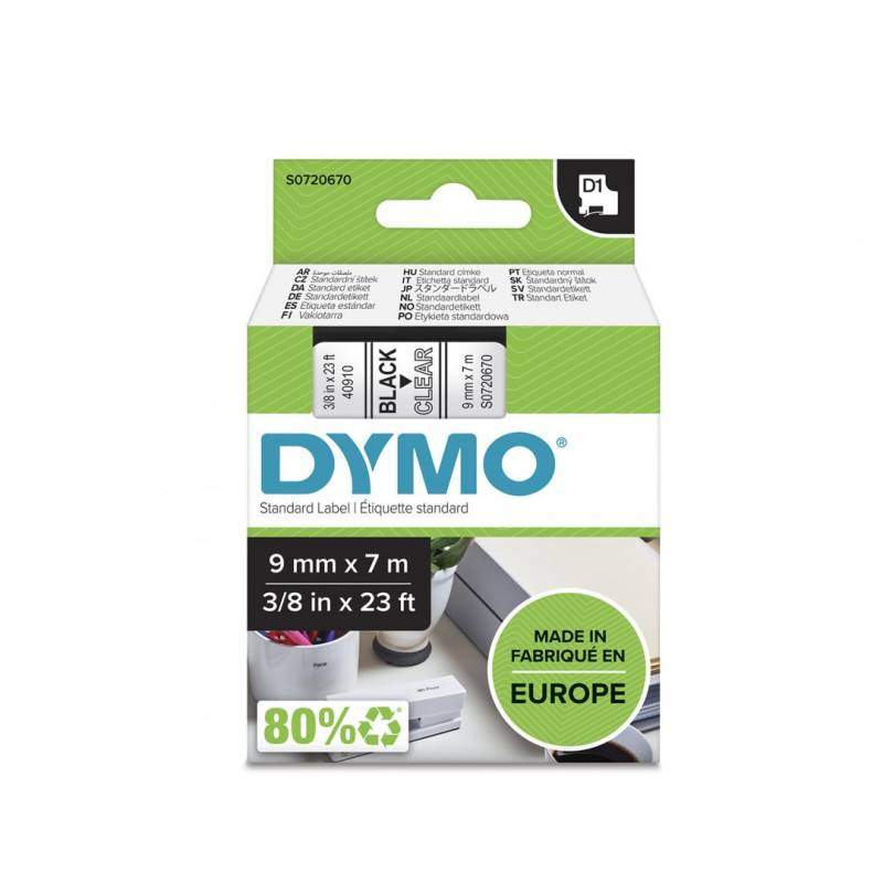 Image of   Labeltape DYMO D1 9mm sort på klar
