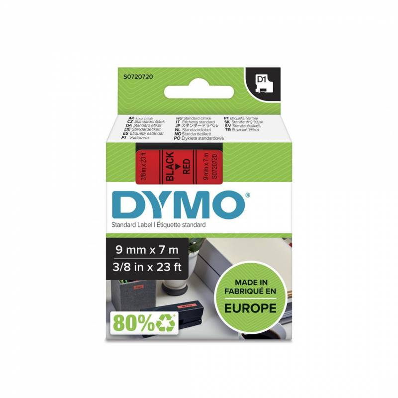 Image of   Labeltape DYMO D1 9mm sort på rød