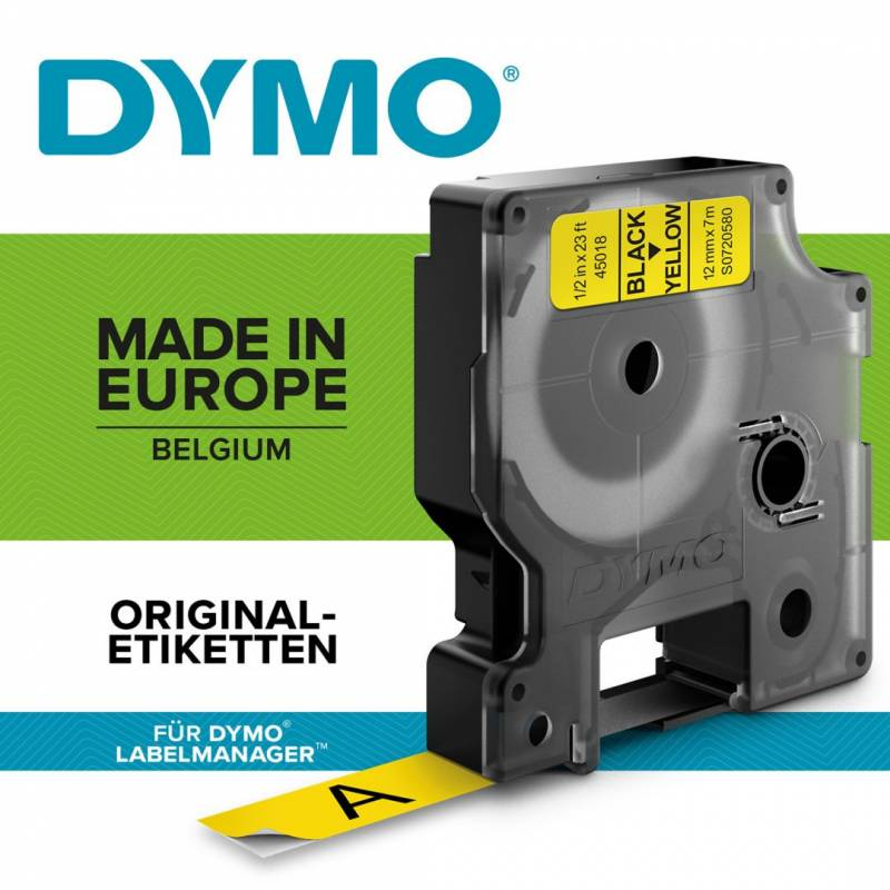Image of   Labeltape DYMO D1 40918 S0720730 9mmx7m sort på gul